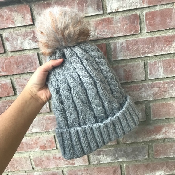 Surell Accessories - Surell Knitted Beanie with a Puffer on top